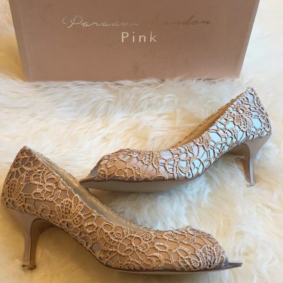 Paradox London Pink Shoes - Paradox London lace overlay heels